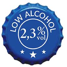 Chapa con la indicación de la baja graduación de la Sporting Beer: 2,3%