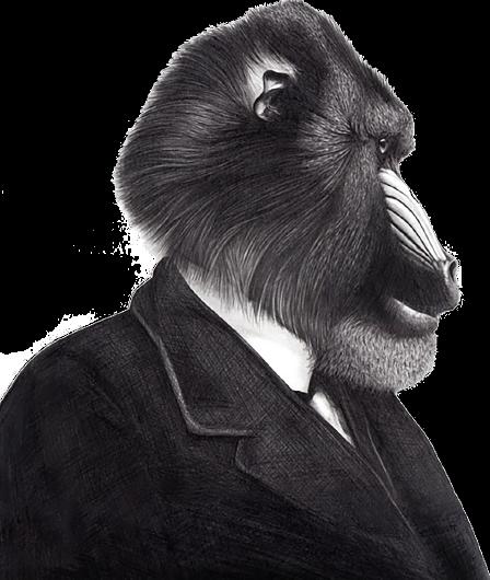 El Sr. Mandril vestido de traje y corbata